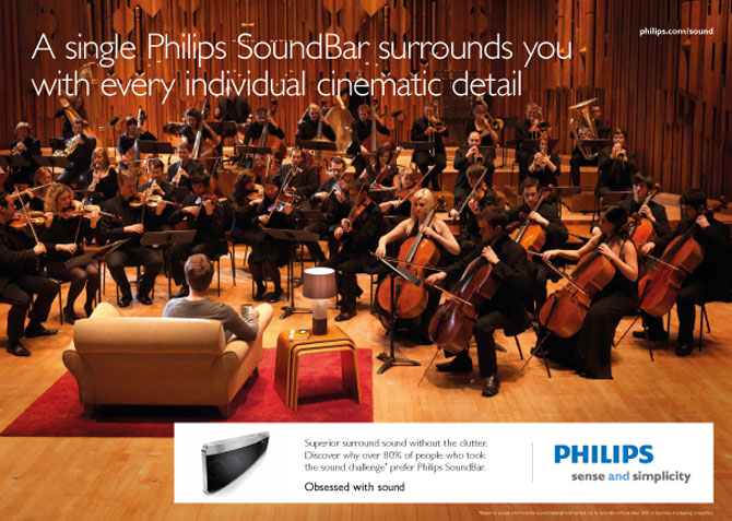 The Mozart Symphony Orchestra in an advert for the Philips SoundBar